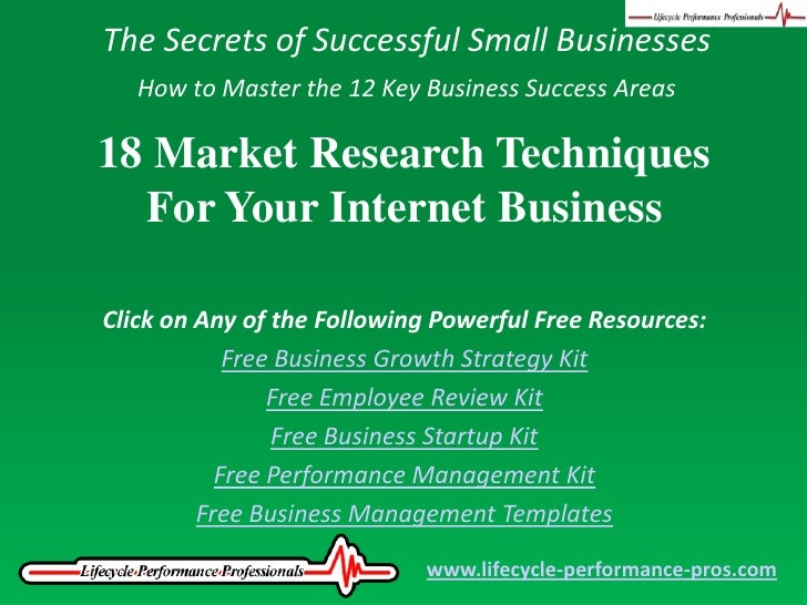The Secrets of Successful Small Businesses<br />How to Master the 12 Key Business Success Areas<br />18 Market Research Te...