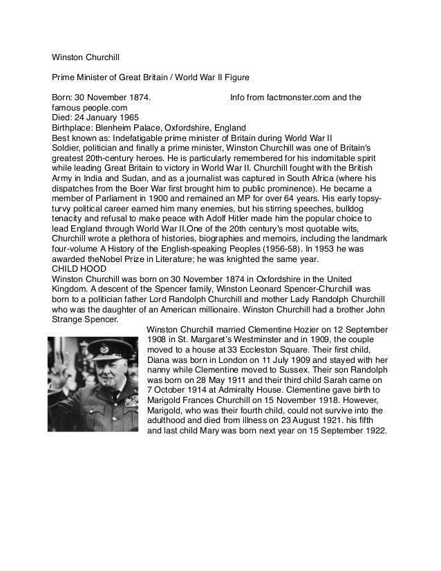 Winston ChurchillPrime Minister of Great Britain / World War II FigureBorn:30 November 1874.               ...