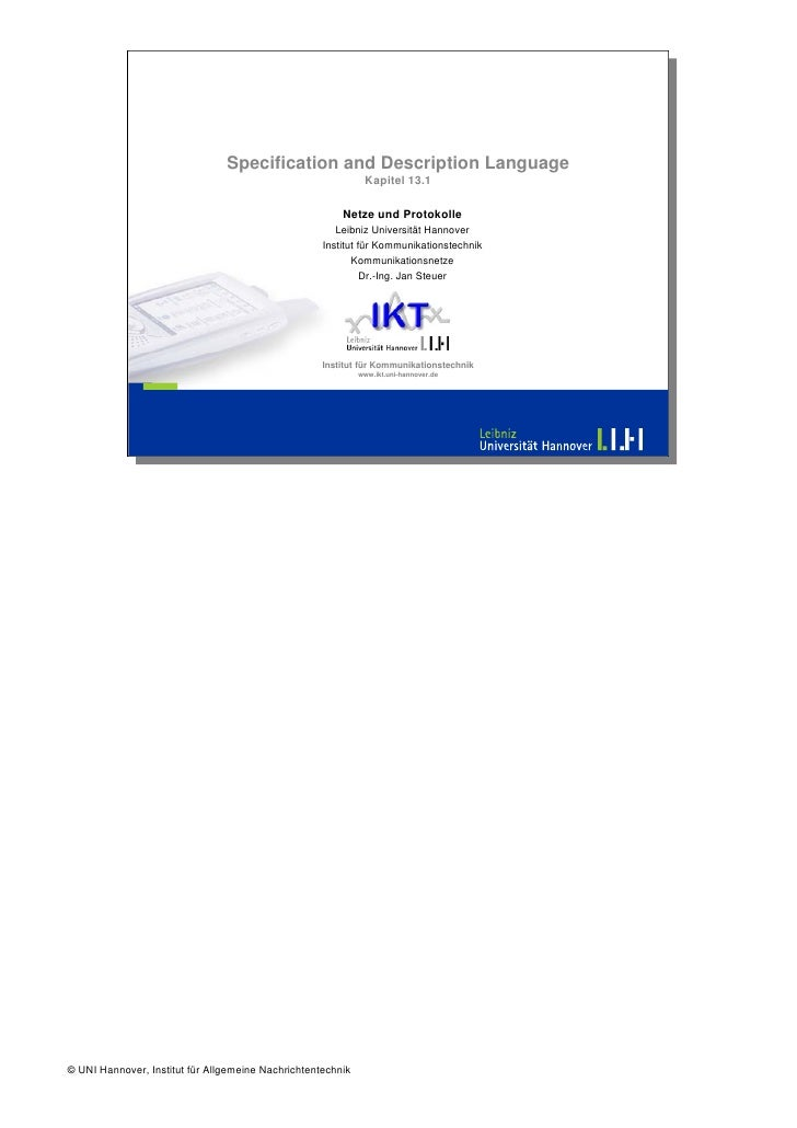 Specification and Description Language                                                               Kapitel 13.1         ...