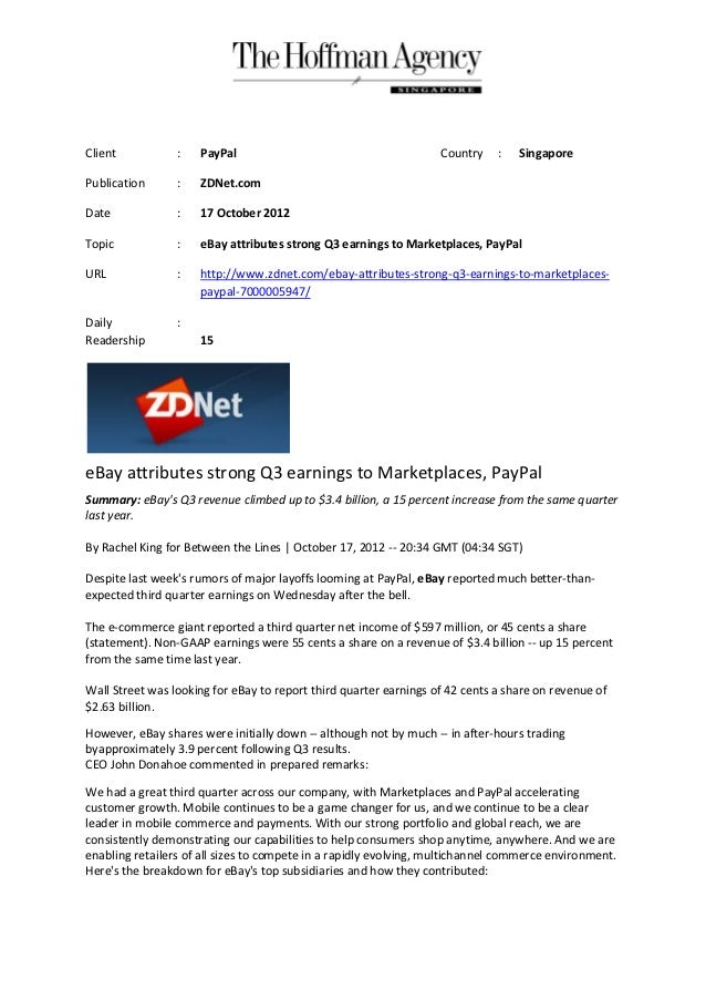 18 oct zd_net_ebay attributes strong q3 earnings to marketplaces, paypal