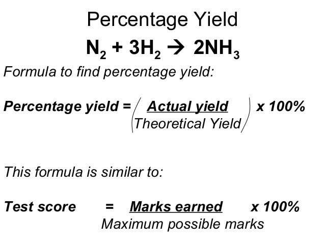 lab report determining percent yield in Class lab # name: _____ lab title: limiting reactant & percent yield date performed: _____ purpose: students will determine the theoretical, actual and percent yield of a chemical equation by.