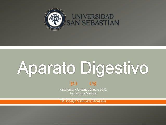             Histología y Organogénesis 2012       Tecnología MédicaTM Jocelyn Sanhueza Monsalve