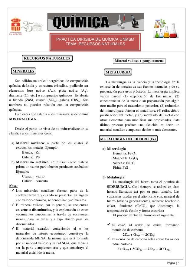 Página | 1 PRÁCTICA DIRIGIDA DE QUÍMICA UNMSM TEMA: RECURSOS NATURALES RECURSOS NATURALES MINERALES Son sólidos naturales ...