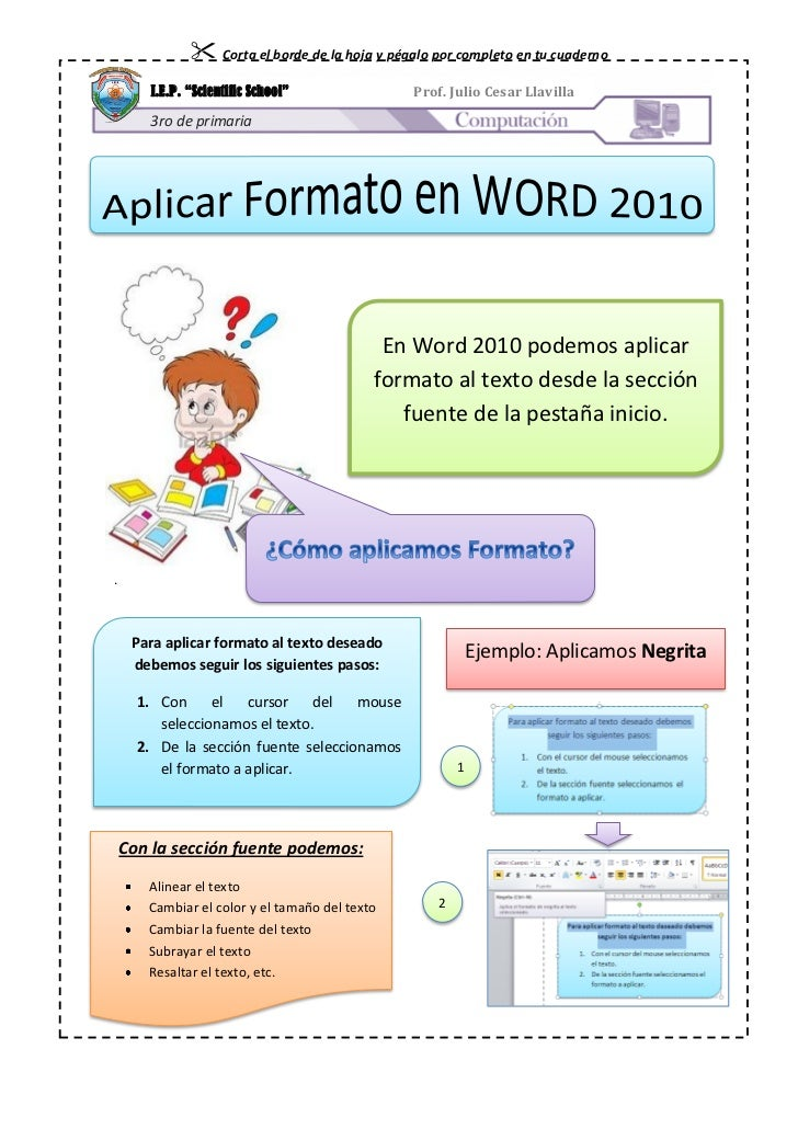Aplicar formato en  word 2010