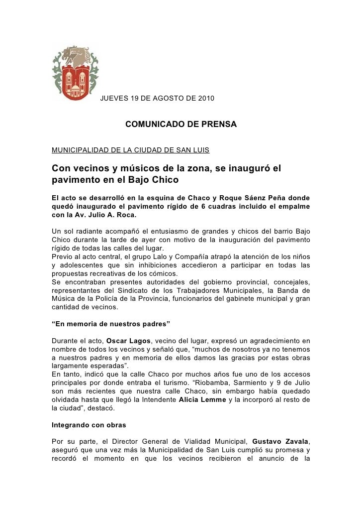 JUEVES 19 DE AGOSTO DE 2010                         COMUNICADO DE PRENSA  MUNICIPALIDAD DE LA CIUDAD DE SAN LUIS  Con veci...
