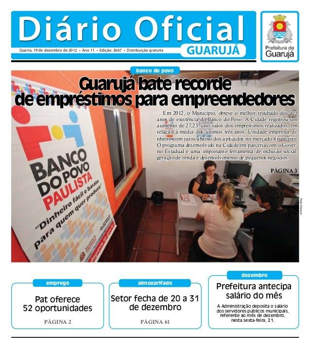 Diário Oficial                              GUARUJÁ                         banco do povo       Guarujá bate recordede emp...