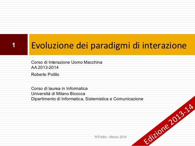 19. Evoluzione dei paradigmi di interazione (I)