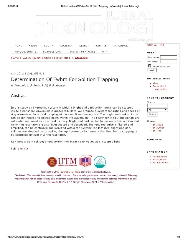 Determination Of Fwhm For Solition Trapping