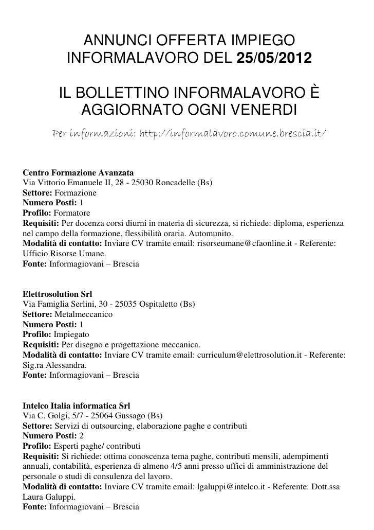 ANNUNCI OFFERTA IMPIEGO            INFORMALAVORO DEL 25/05/2012          IL BOLLETTINO INFORMALAVORO È              AGGIOR...