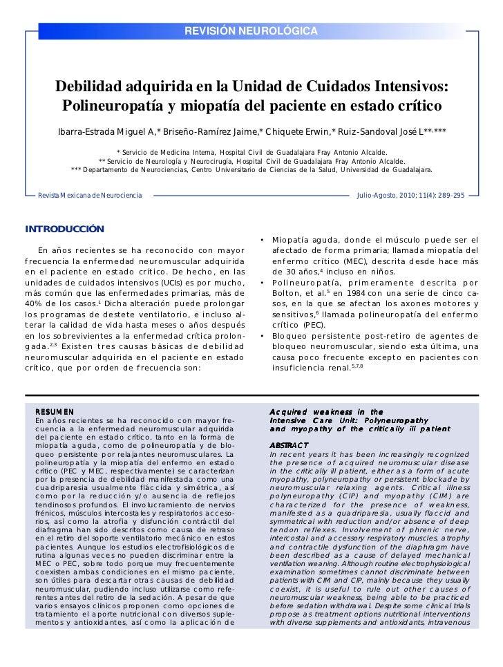 REVISIÓN NEUROLÓGICARev Mex Neuroci 2010; 11(4): 289-295                                                                  ...