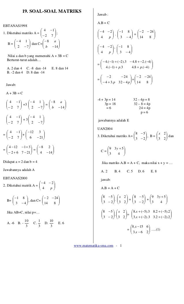 19 Soal Soal Matriks