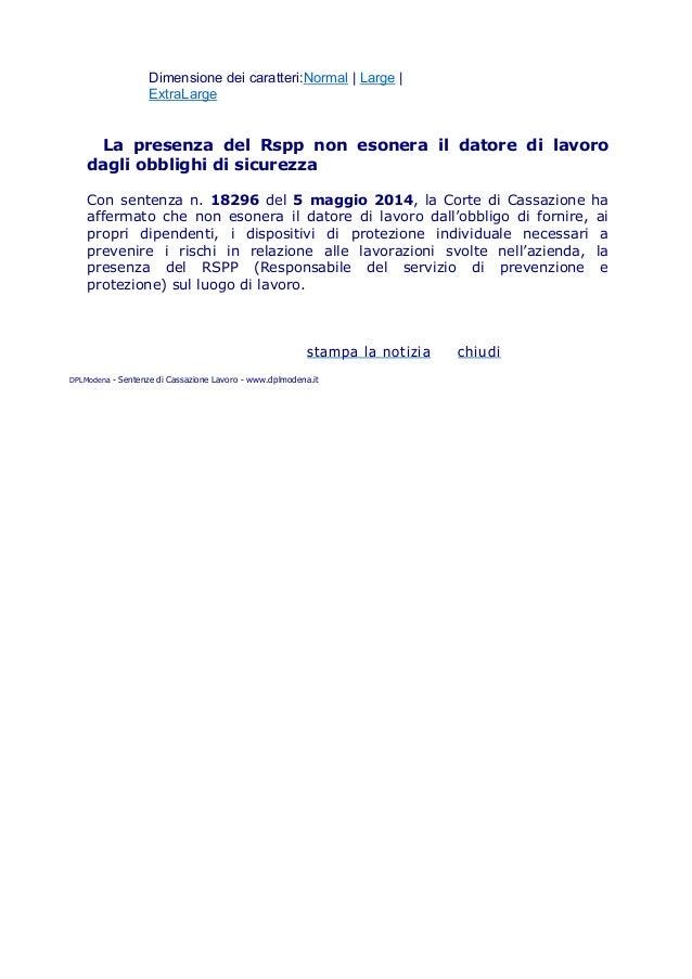 190   la presenza del rspp non esonera il datore di lavoro dagli obblighi di sicurezza
