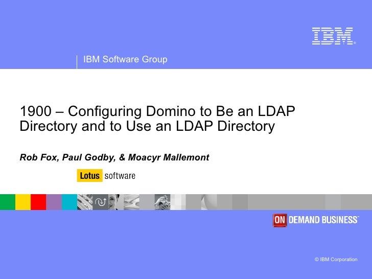 Configuring Domino To Be An Ldap Directory And To Use An Ldap Directory