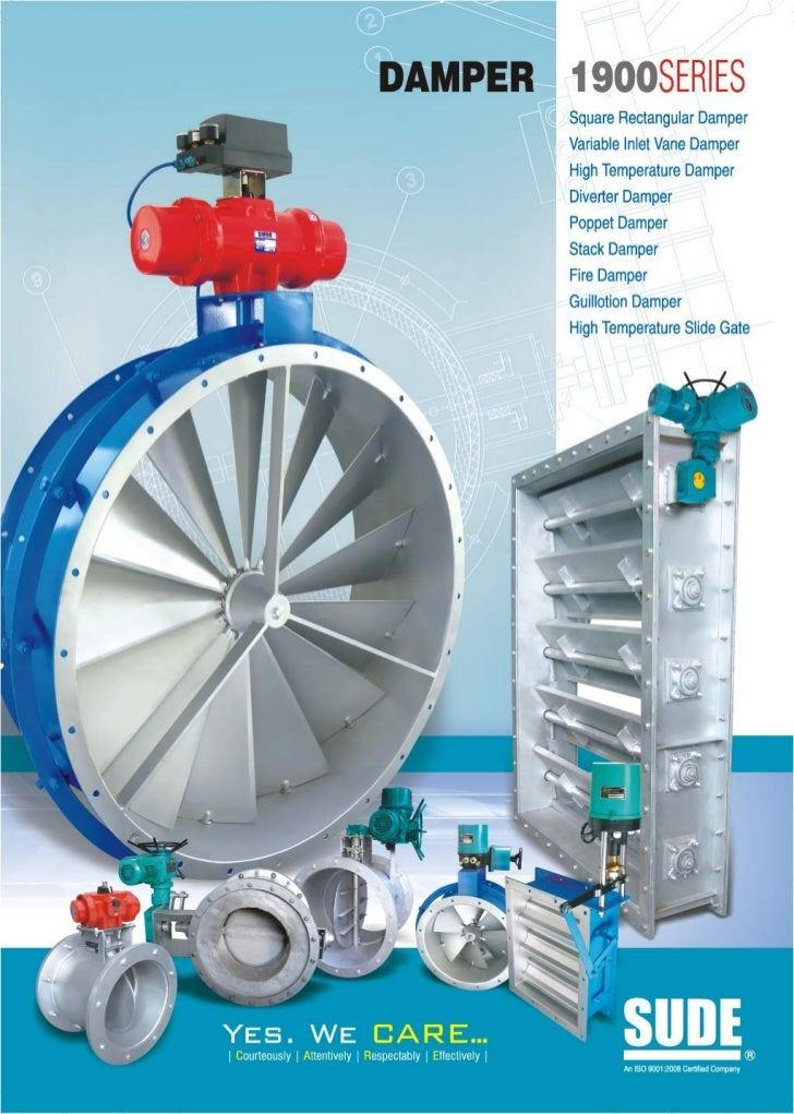 1900 series damper with electrical and pneumatic actuator