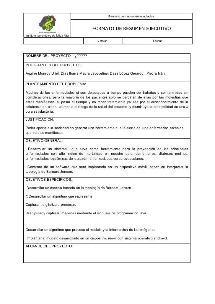 19027078 formato-de-resumen-ejecutivo-para-presentacion-de-proyectos