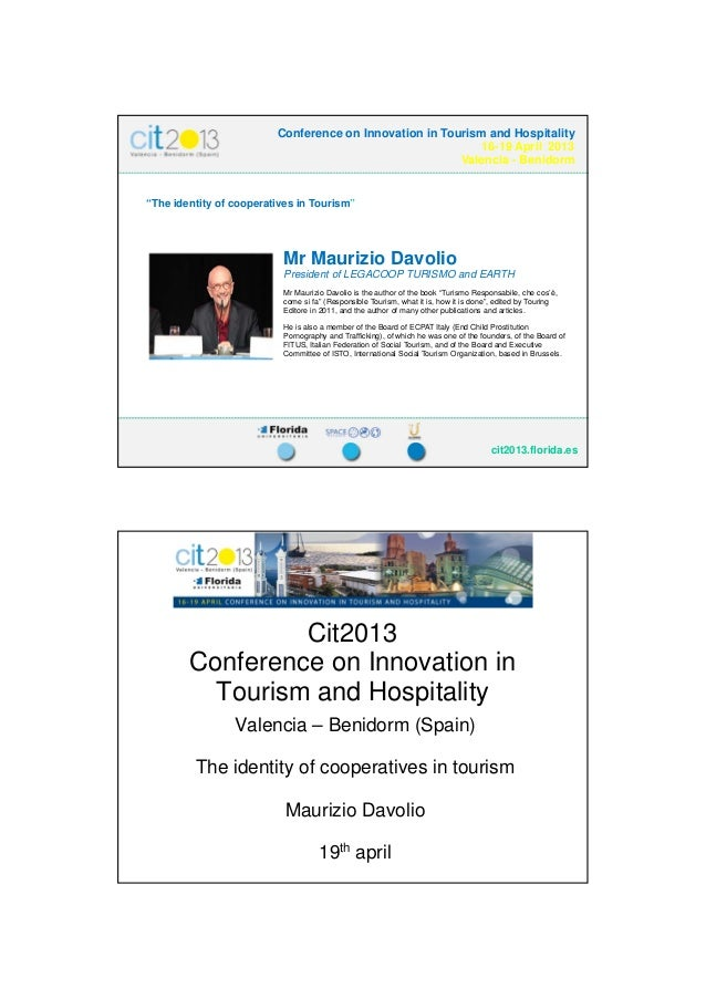 23/04/2013                         Conference on Innovation in Tourism and Hospitality                                    ...
