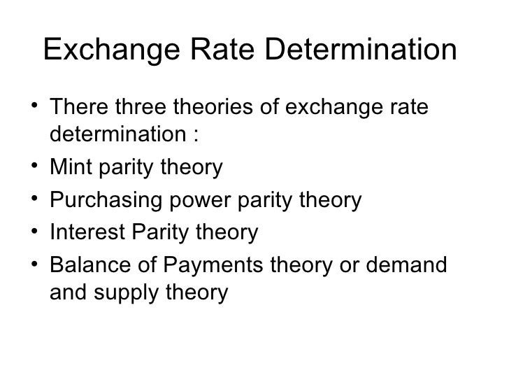 theories of exchange rate determination essay Constitutes one of the fundamental building blocks in modeling the theories of exchange rate determination1 at policy level, it provides an important theoretical.
