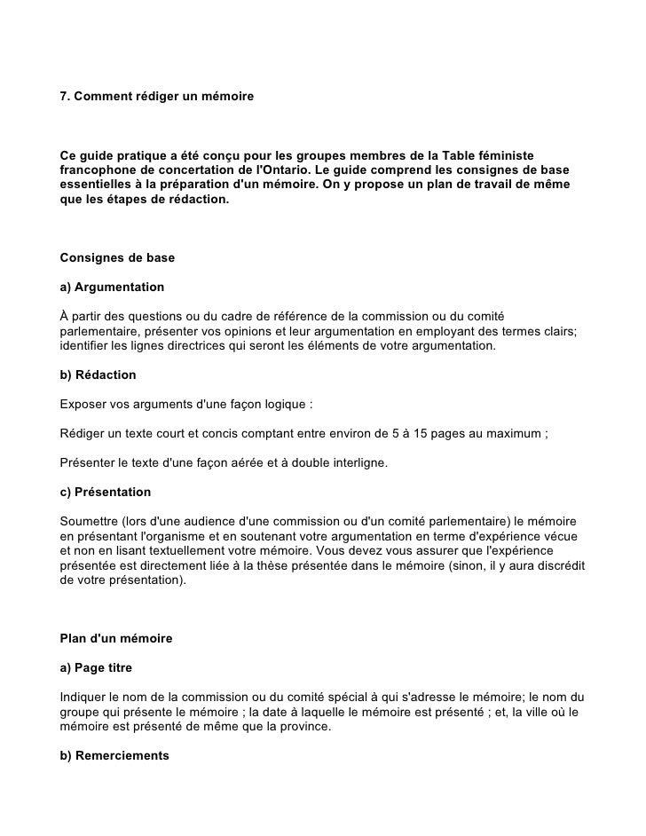 7. Comment rédiger un mémoire    Ce guide pratique a été conçu pour les groupes membres de la Table féministe francophone ...