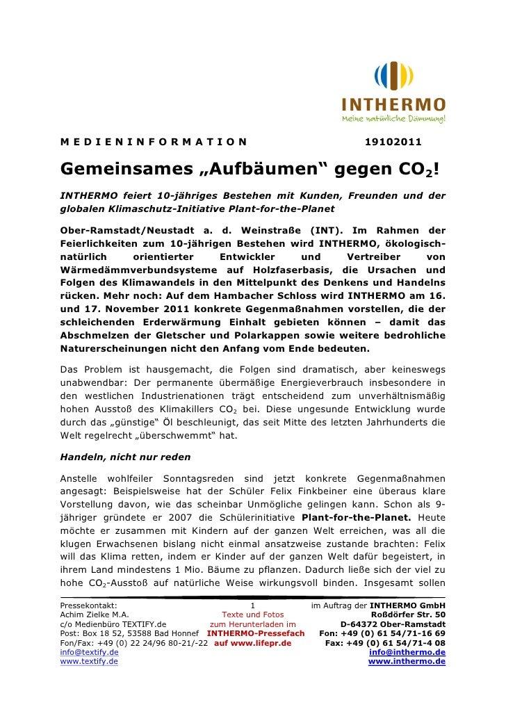 """MEDIENINFORMATION                                                     19102011Gemeinsames """"Aufbäumen"""" gegen CO2!INTHERMO f..."""