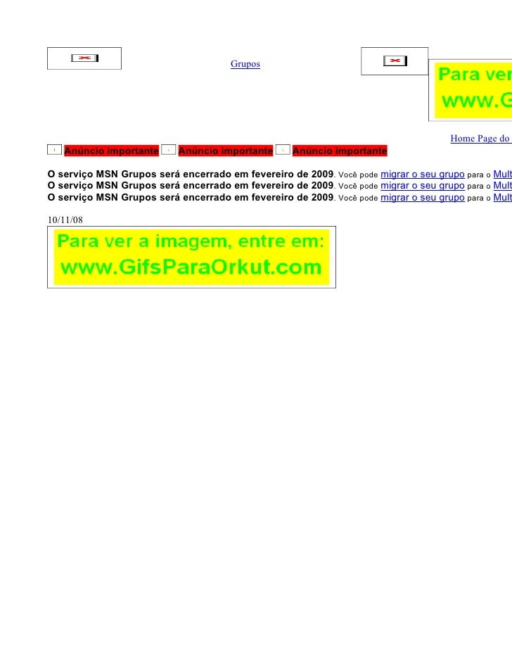 Grupos                                                                                         Home Page do    Anúncio imp...