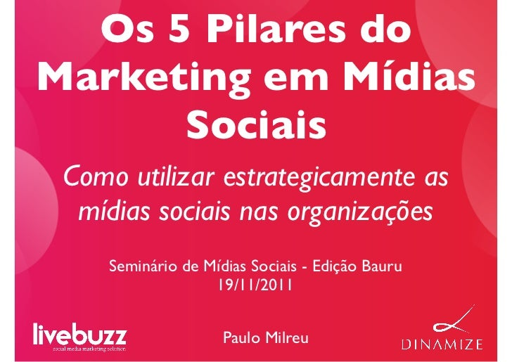 Os 5 Pilares doMarketing em Mídias      Sociais Como utilizar estrategicamente as  mídias sociais nas organizações    Semi...