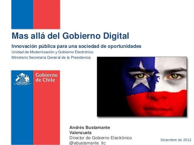 Mas allá del Gobierno DigitalInnovación pública para una sociedad de oportunidadesUnidad de Modernización y Gobierno Elect...