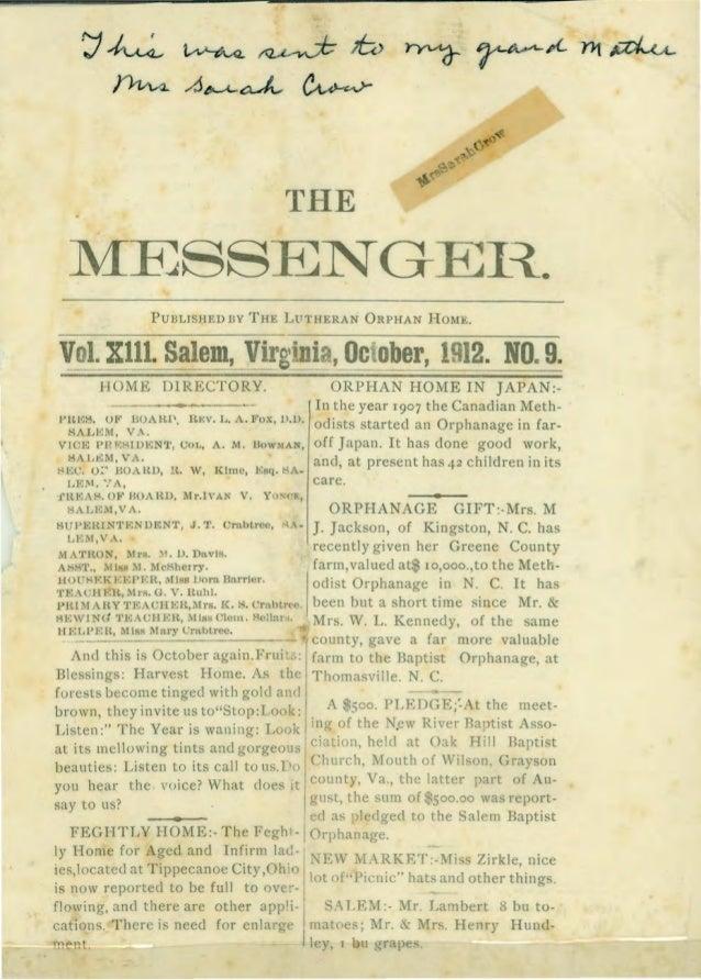 r;J~ ~ ~ 16) ~ ~A-1'l1~ f}vw.. A~~ ~ THE MESSENG EI~. PUBLISHED BY THE LFTHERAN ORPHAN HOME. Vol. Xll1. Salem, Virginia, O...