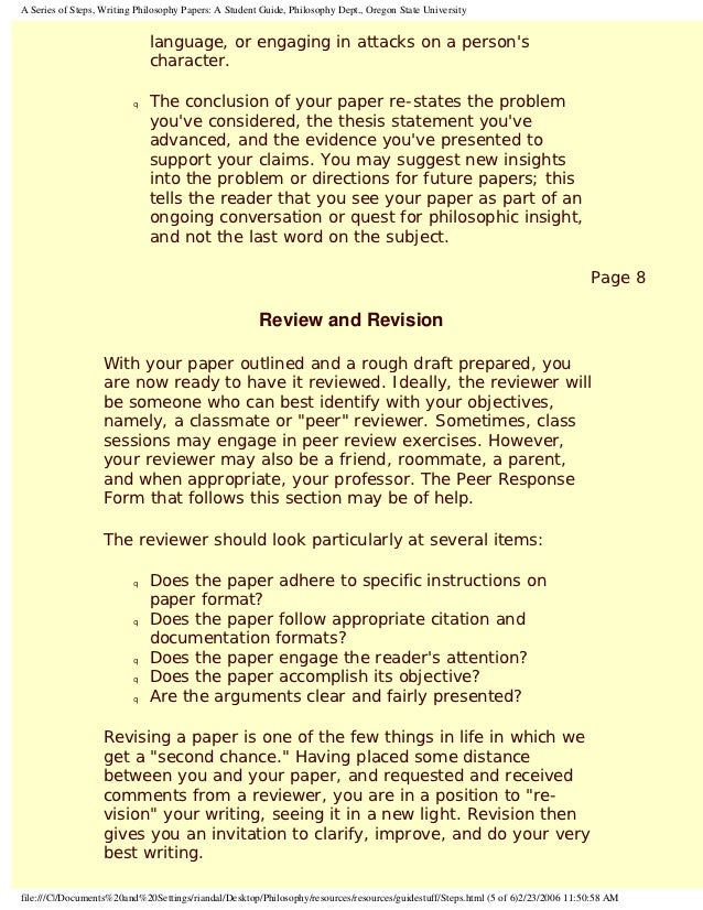 philosophy paper format Writing a philosophy paper the first goal of an analytic philosophy paper is to present a clear valid argument the second goal is to present a sound argument the third goal is to advance knowledge (that is, present a sound argument for a novel conclusion of some importance).