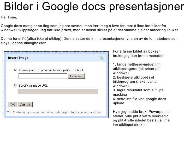 Bilder i Google docs presentasjoner