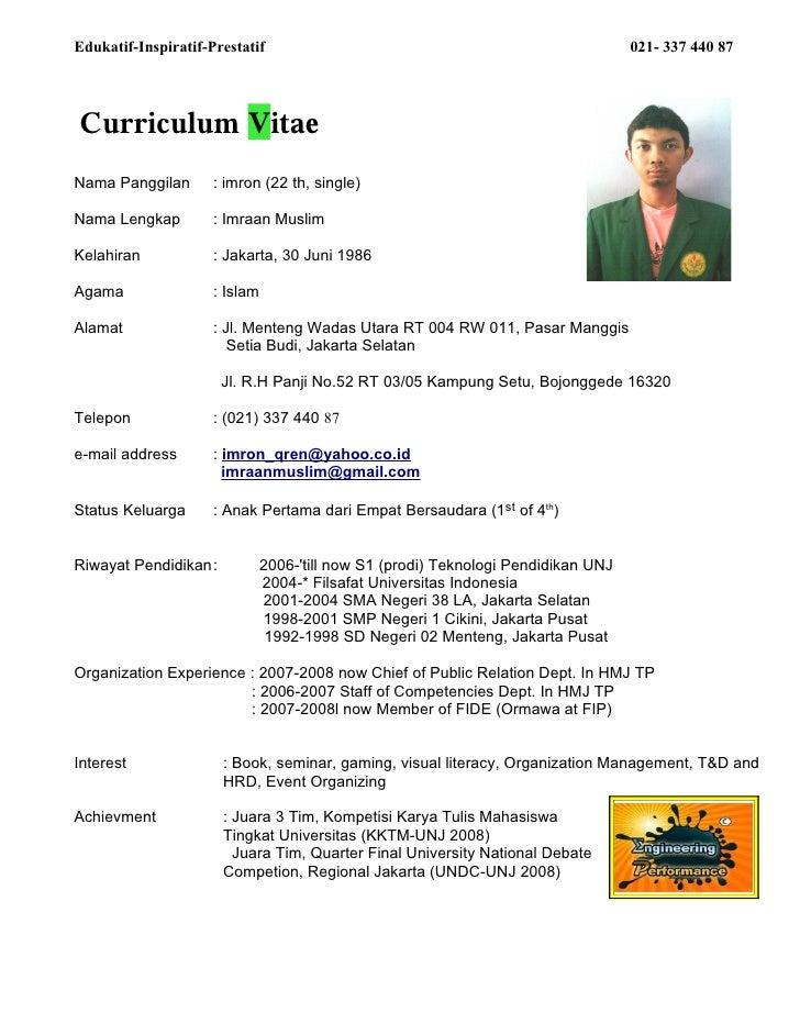 Edukatif-Inspiratif-Prestatif                                                       021- 337 440 87     Curriculum Vitae N...