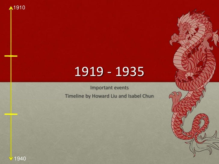 1919 - 1935 <br />Important events <br />Timeline by Howard Liu and Isabel Chun<br />