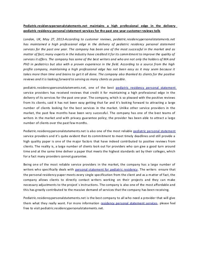 residency statement