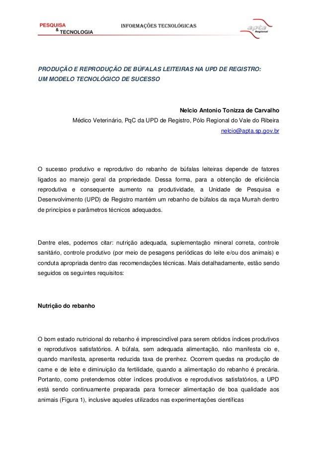 PRODUÇÃO E REPRODUÇÃO DE BÚFALAS LEITEIRAS NA UPD DE REGISTRO: UM MODELO TECNOLÓGICO DE SUCESSO Nelcio Antonio Tonizza de ...