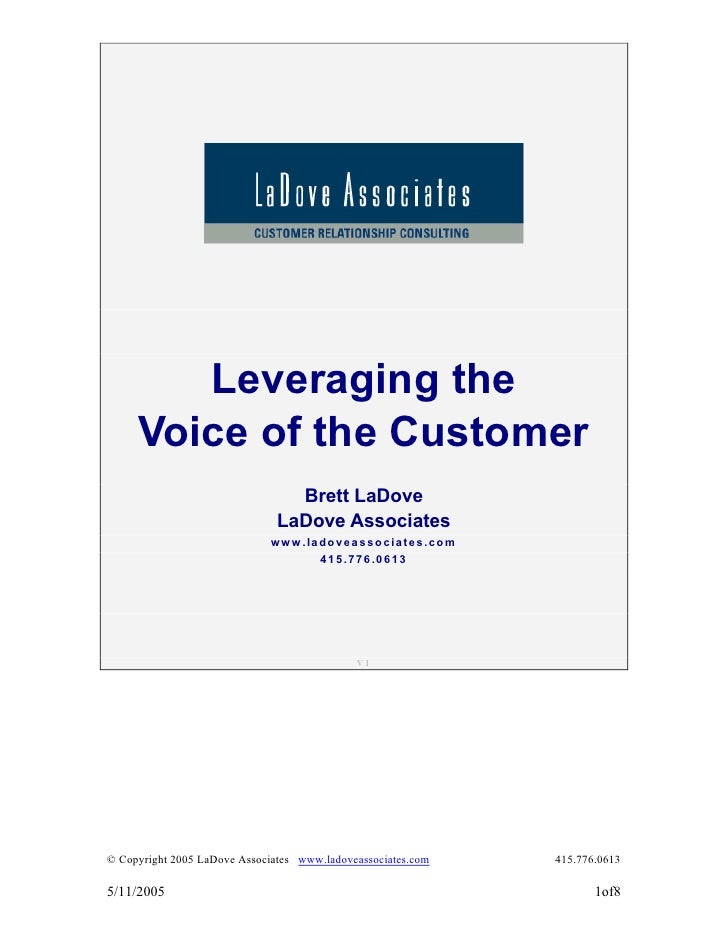Leveraging the      Voice of the Customer                                  Brett LaDove                                LaD...