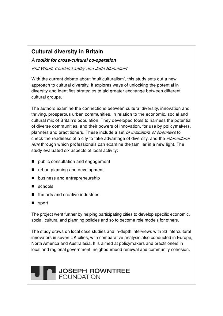 Cultural diversity in BritainA toolkit for cross-cultural co-operationPhil Wood, Charles Landry and Jude BloomfieldWith th...