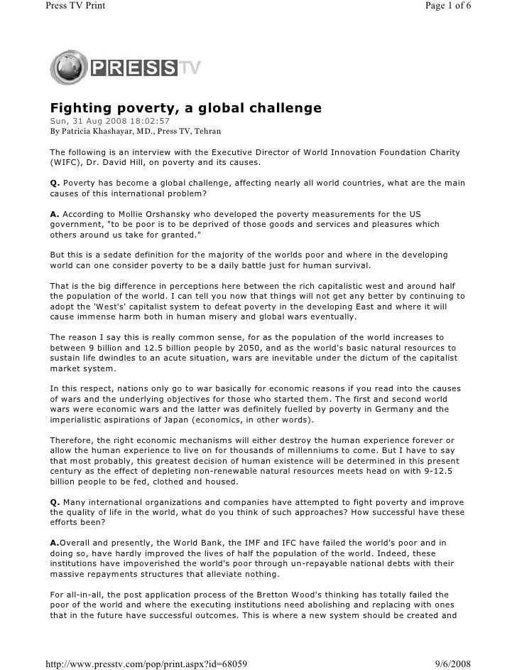Fighting poverty, a global challenge