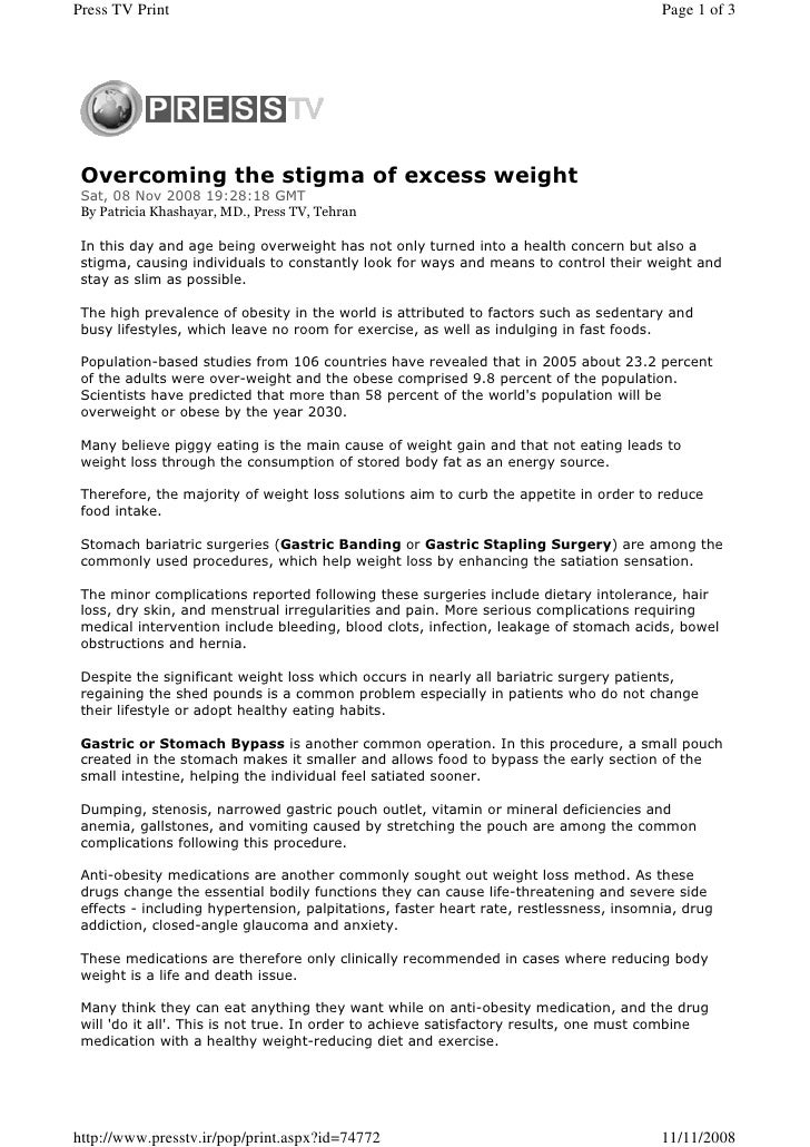 Overcoming the stigma of the excess weight