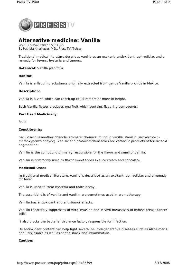 Alternative medicine vanilla