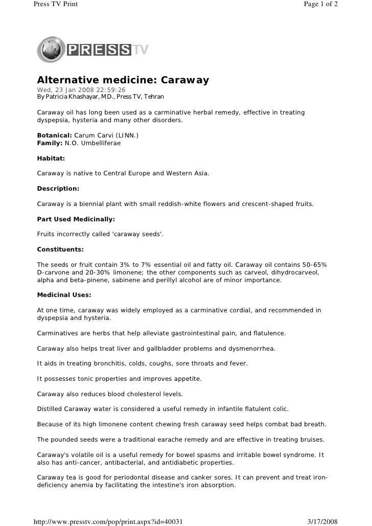 Alternative medicine Caraway