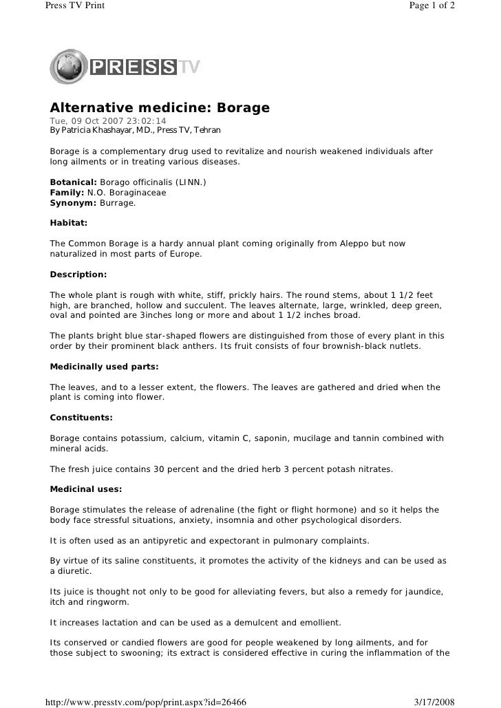 Press TV Print                                                                          Page 1 of 2      Alternative medic...