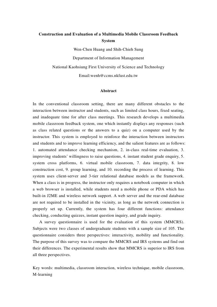 Construction and Evaluation of a Multimedia Mobile Classroom Feedback                                    System           ...