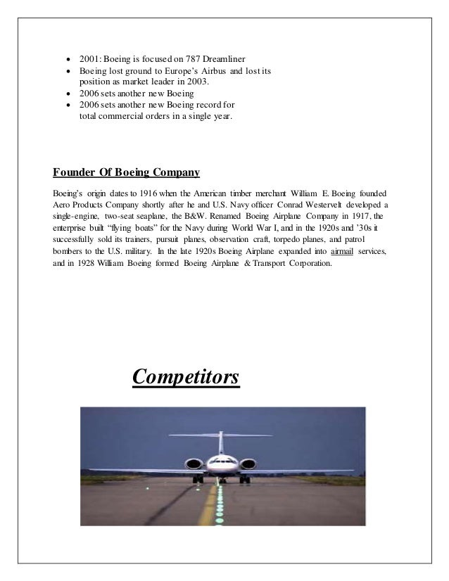 boeing case analysis essay Essay preview boeing/airbus case analysis competition in the commercial  aircraft business with only a few large companies across the globe (boeing, md, .