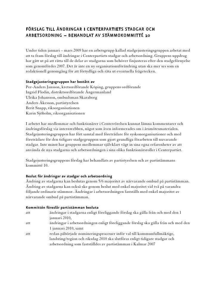 Komprotokoll omr 10 Justeringar i stadgar och arbetsordning