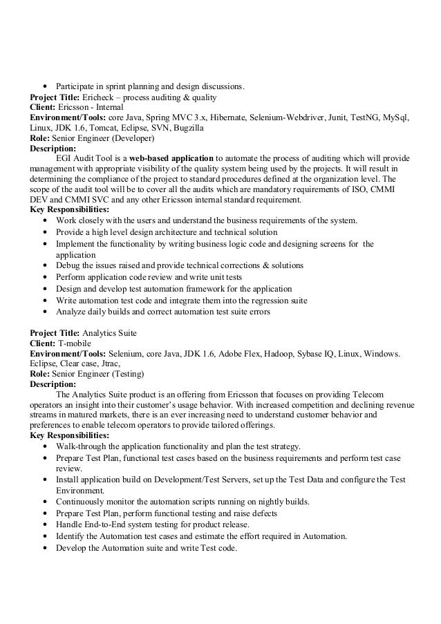 sample resume qtp automation testing jobs