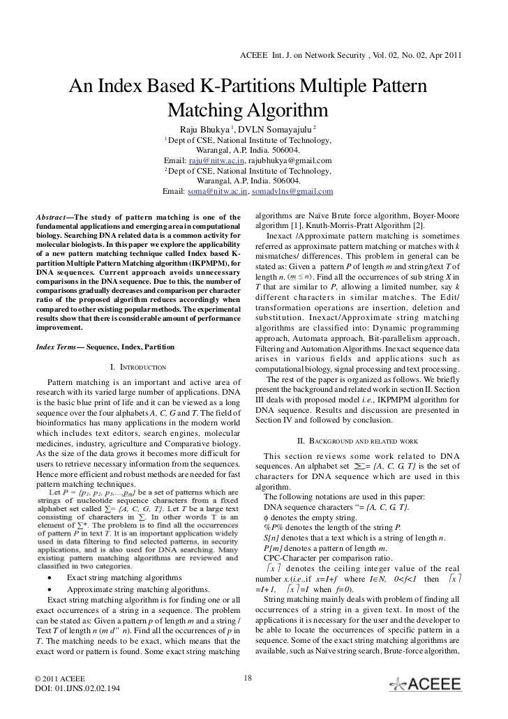 ACEEE Int. J. on Network Security , Vol. 02, No. 02, Apr 2011          An Index Based K-Partitions Multiple Pattern       ...