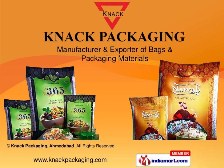 Manufacturer & Exporter of Bags &                            Packaging Materials© Knack Packaging, Ahmedabad, All Rights R...