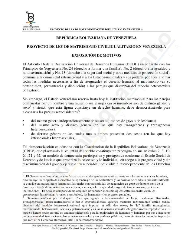 Rif: J40283216-8  PROYECTO DE LEY DE MATRIMONIO CIVIL IGUALITARIO EN VENEZUELA  REPÚBLICA BOLIVARIANA DE VENEZUELA PROYECT...