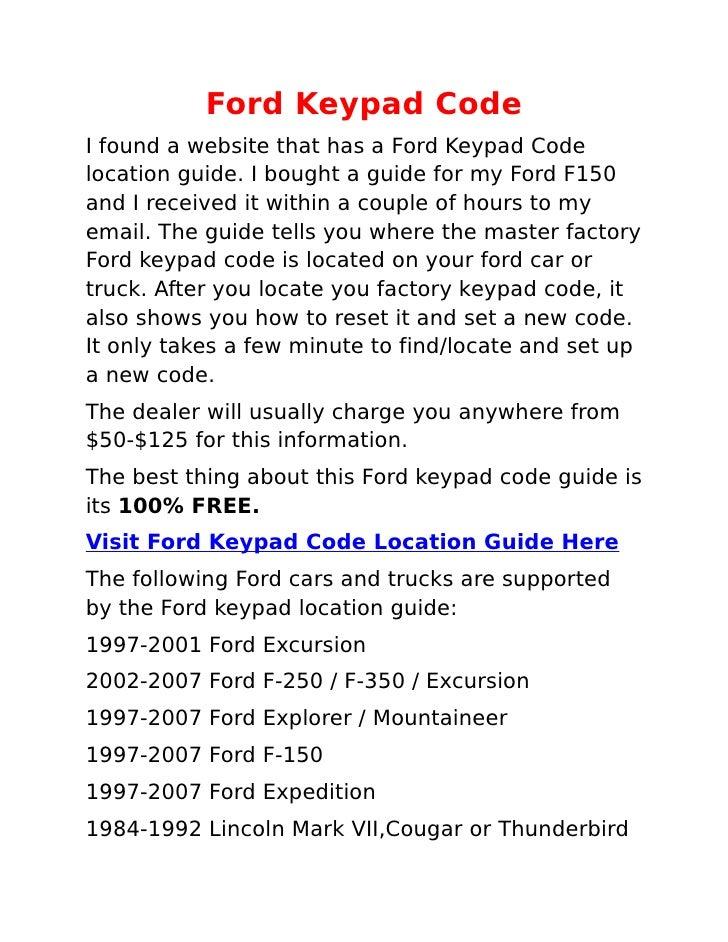 Ford Keypad Code