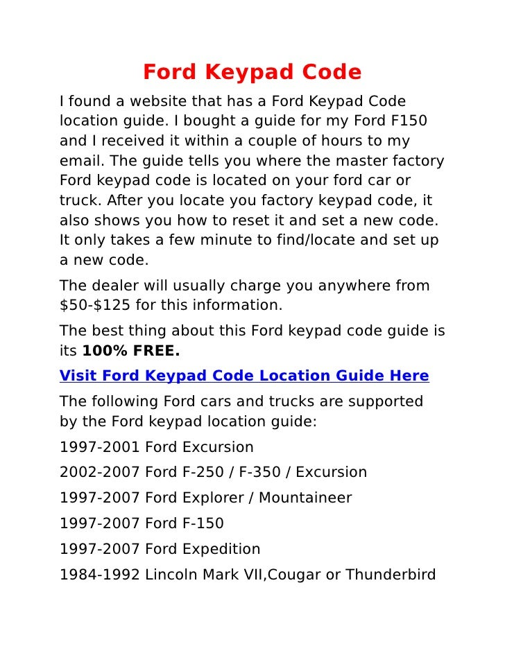 how to find keyless entry code on ford expedition apps. Black Bedroom Furniture Sets. Home Design Ideas