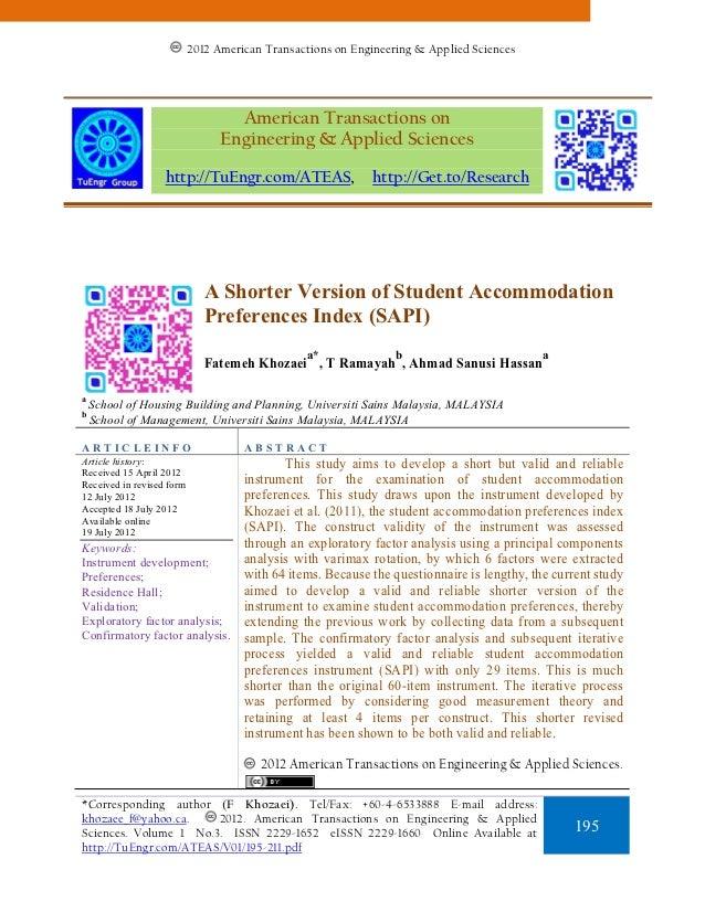 A Shorter Version of Student Accommodation Preferences Index (SAPI)